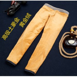 Men's autumn winter jeans warm flocking Thick soft wool men jeans 2 colors Gold and Coffee FLeece