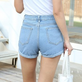 Women's Blue High Waist Crimping Denim Summer Shorts Trendy Slim Casual Plus Size Womens