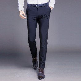 Mens High Quality Cotton Pants Straight Spring and Summer Long Male Classic Business Casual Trousers Full Length Mid