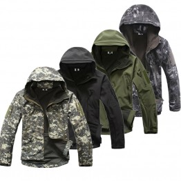 Men's Shark Skin Softshell Military Tactical Jacket Men Waterproof Coat Camouflage Hooded Army Camo Clothing
