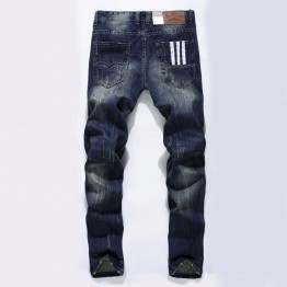 Men Straight legs Dark Blue Color Printed Mens Jeans Ripped Jeans,100% Cotton