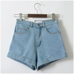 Women Denim Shorts Vintage High Waist Cuffed Jeans Shorts Street Wear Sexy Shorts For Summer Spring Autumn