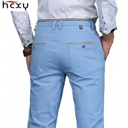 HCXY 2019 Men Pants hombres pantalones Full Cotton Slim Straight Trousers Fashion Men's Commercial Casual Pants Plus size 28-38