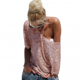 Women Loose Off Shoulder Sequin Glitter Blouses Summer Casual Shirts Vintage Streetwear Party Tops