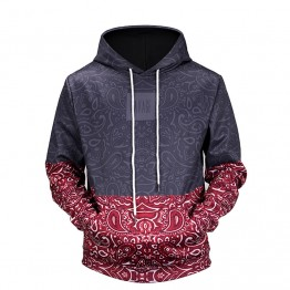 Mens 3D  Floral Stitching  printed hooded hoodies funny design drawstring hoodies