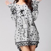 Women casual print long sleeve dress plus size loose fashion dresses  tunic big large cotton
