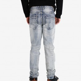 Mens  Jeans Slim Fit Strech Denim Jeans Men Ripped Moto Biker Extra Slim Fit Jeans