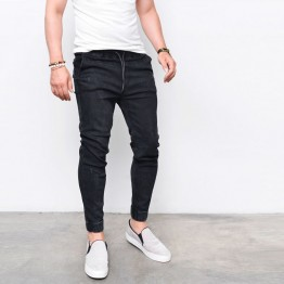 Men's Harem Jeans Shinny Denim Pants Sportswear Casual Elastic Waist Joggers Pants