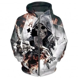 Mens Skull Poker Hoodies Sweatshirts Pullover Funny Rock Tracksuits Hooded Male Jackets Fashion Casual Outwear