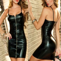 Women Erotic Dress Faux Leather Plus Size Zip Clubwear Party Apparel Costumes 8 Colors available