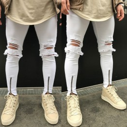 Men's Distressed Ripped Jeans  Destroyed Wash Denim Zipper Ankle Skinny Hole Jeans