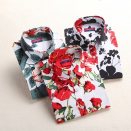 Women's Cotton Blouses Shirt with printed Pattern Shirts Long Sleeve Floral Women Clothes Casual Plus Size Turn-Down Collar Cotton Blouses