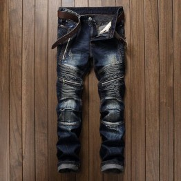 Men's Pleated Biker Jeans Pants Slim Fit Motocycle Denim Trousers For Male Straight Washed Multi Zipper