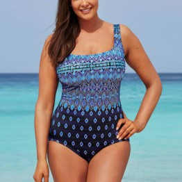Womens  One Piece Swimsuit Solid Retro Plus Size Swimming Suit