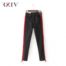 Womens casual Jeans Stretch Denim Solid Color Stitching waist black jeans and skinny jeans trouser Pants