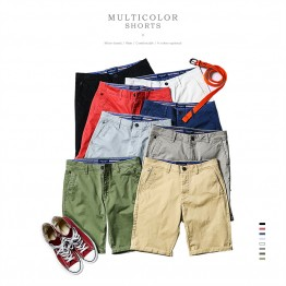 Mens Summer Cotton Shorts  Slim Fit Solid Color Knee length  High Quality