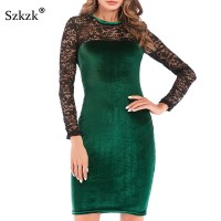 Sexy Women Lace Velvet Dress New 2019 Spring O-Neck Long Sleeve Wine Red Black Green Bodycon Midi Female Party Dresses
