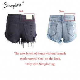 Womens 50's Vintage ripped hole fringe blue denim shorts Casual pocket jeans shorts summer shorts