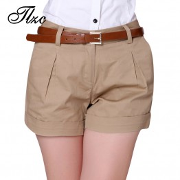 Womens Summer Cotton Casual Shorts Solid Color Khaki / White