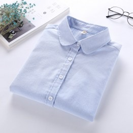 Women Casual Blouse Long Sleeved Cotton Oxford White Shirt Woman Office Shirts
