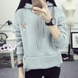 Women Hoodies Sweatshirts Spring Deer Embroidery Cashmere Thick Pullover Tops Big Pockets Hooded Hoodie Plus Size Sudadera