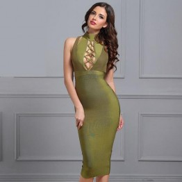 Women Bandage Dress Spring New Army Green Halter Sleeveless Hollow Out Bodycon Vestidos Sexy Evening Party Dress