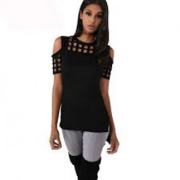 Womens Plaid Hollow Out Block Bandage T Shirt Casual O Neck Cold Shoulder Short Sleeve Slim T Shirts For Women