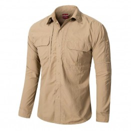 Men Lightweight Urban Tactical Shirt Quick Dry Army Cargo Military Shirt Summer Male Casual Clothes Breathable Long Sleeve Shirt